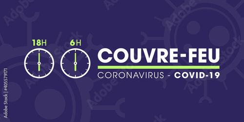 Couvre-feu en France à partir du samedi 16 janvier 2021 - pandémie du coronavirus covid19 - déplacement interdit de 18h à 6h - icône de pendule - illustration vectorielle
