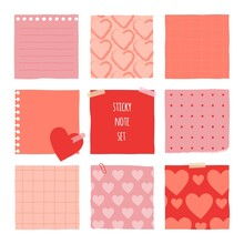 Collection Of Various Notes Paper For Valentine Card. Red And Pink Sticky Note.