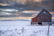 Rustic Barn In Minnesota On A Winter Sunset Day, With Hoar Frost