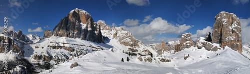 scenic winter landscape in the Cortina d'Ampezzo Dolomites. Tofana di Rozes mountain group and the Cinque Torri (five towers group). Veneto, Italy.
