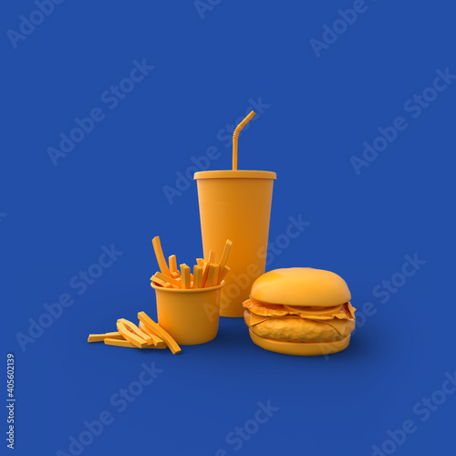 Obraz na płótnie Fast food 3d render