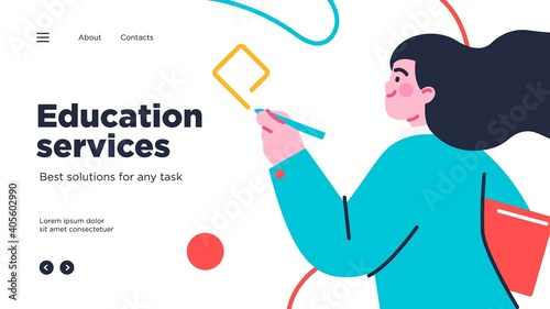 Online education modern flat design isometric concept. Landing page template. Vector illustration for web and graphic design.