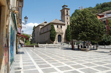 View Of The Streets And Old Buildings Of Granada, Historic City Of Andalusia (Spain). Isabel La Catolica Square