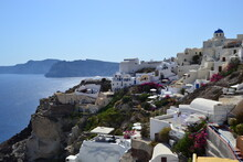 Top View Of Oia, Santorini Island In Greece