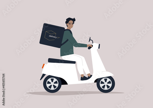 Young male courier driving a scooter, food delivery concept