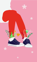 Cute Flat Woman Legs In Sneakers With Flowers. Modern Minimalistic Postcard With Woman Legs. Flowers In Shoes. Cute Flat Vector Illustration.