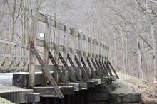 Wooden Bike Trail Bridge Railing With Railroad Ties