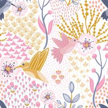 Hummingbird And Cherry Blossom White Background Seamless Pattern