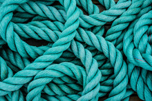 Close Up Of Rope On A Blue Background