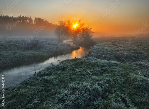 Canvas-taulu Beautiful spring sunrise over river banks. Morning fog
