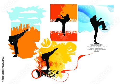 Fototapeta Active people. Sport background ready for poster or banner, vector. obraz