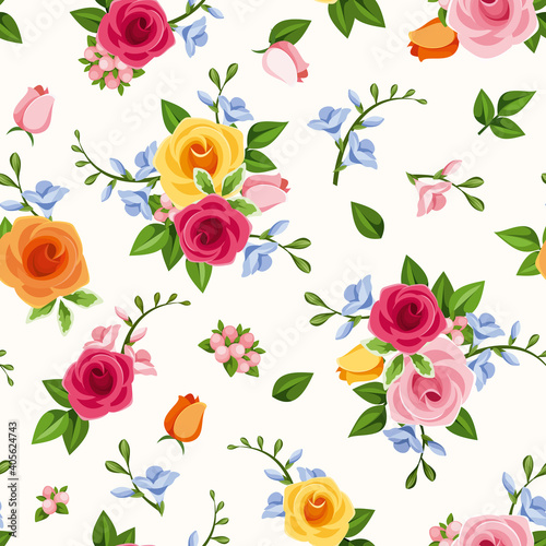 Fotografie, Obraz Vector seamless pattern with red pink, orange, yellow and blue roses and freesia flowers