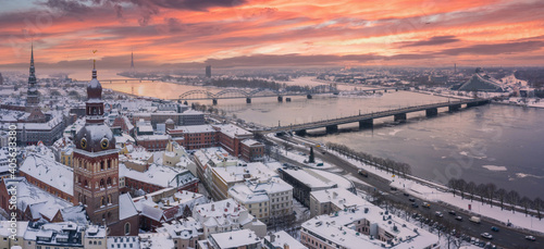 Riga old town cityscape top winter view. Famous aerial sight and toursist destination of Domes cathedral. Travelling to Latvia © ingusk