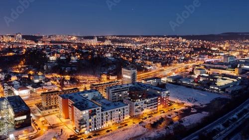 High Angle View Of Illuminated City Against Sky At Dusk © viktor bezdek/EyeEm