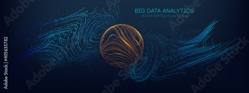 Big data analytics abstract vector background. 3d vector sphere data stream in abstract style. Abstract technology background wave flow. Data science concept. Technology analysis. Worldwide business