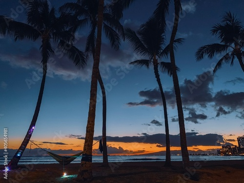 Obraz Silhouette Palm Trees On Beach Against Sky During Sunset - fototapety do salonu