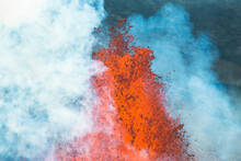 Aerial View Of Spewing Lava During Volcanic Eruption, Holuhraun 2014, Iceland