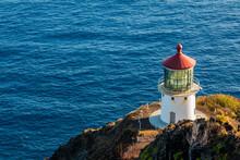 Makapuu Lighthouse On The High Cliffs Of Makapuu Point, Makapu Point State Wayside, Oahu, Hawaii, USA