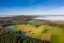 Panoramic Aerial View Of An Autumn Landscape With Fog, Germany.