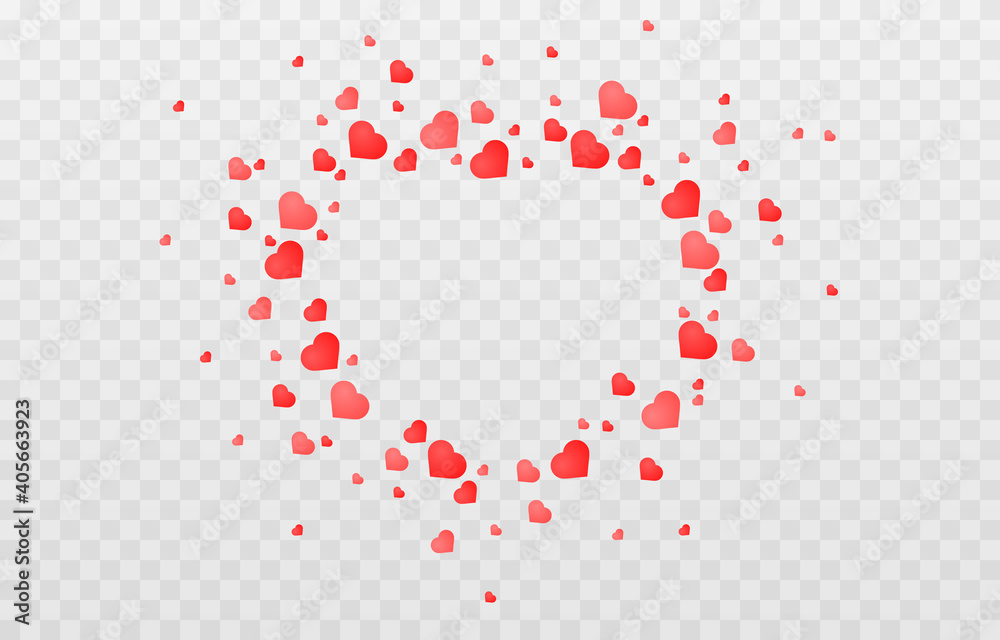 Fototapeta Vector confetti made from hearts. Hearts fall from the sky on an isolated transparent background. Heart, confetti png. Valentine's Day.