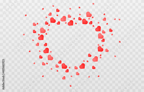Fototapeta Vector confetti made from hearts. Hearts fall from the sky on an isolated transparent background. Heart, confetti png. Valentine's Day. obraz