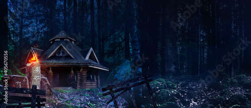 Horror background image of fantasy witch house in night woods with magic totem with symbols Fotobehang