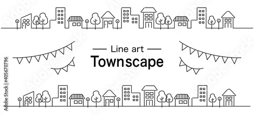 Obraz 線画のおしゃれな町並みとガーランド 罫線 シンプル - fototapety do salonu
