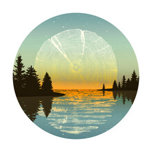 Sun Setting Or Sunset Of Tree Rings Slice Over A Lake With Reflection