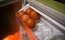 Eggs In The Fridge Shelf