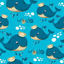 Seamless Pattern In Cartoon Style, Children's Theme With Fun And Attractive Whale. Vector Illustration