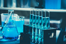 Scientific Chemistry Glassware For Research In Laboratory, Medicine Microbiology Or Biotechnology Technology Equipment, Coronavirus Cure Covid-19 Vaccine Development