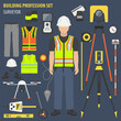 Profession and occupation set. Land surveyor tools and  equipment. Uniform flat design icon