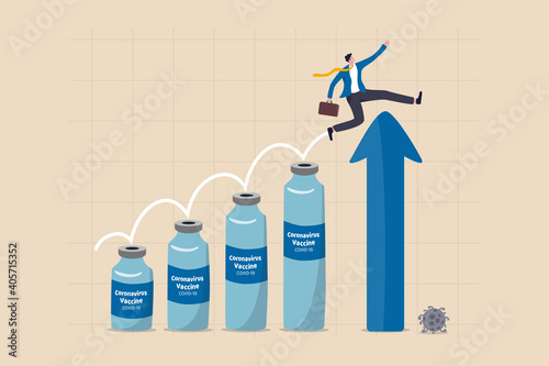 Canvas COVID-19 vaccine successfully develop and build herd immunity to make world economic and business recover concept, businessman jumping on Coronavirus vaccine bottle to rising arrow economic chart