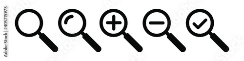 Fotografija Magnifying glass simple icon collection. Search icon set. Vector
