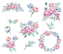 Set Flowers, Pink And Blue Vintage Arrangements, Watercolor Drawing. Isolated On White Background.
