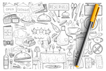 Restaurant And Cafe Elements Doodle Set. Collection Of Hand Drawn Men, Tables, Signs, Bottles And Served Food In Restaurants Isolated On Transparent Background. Illustration Of Working Bistro Signs