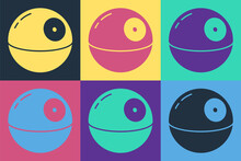 Pop Art Death Star Icon Isolated On Color Background. Vector.