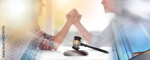 Fotografie, Obraz Concept of conflict during divorce; multiple exposure