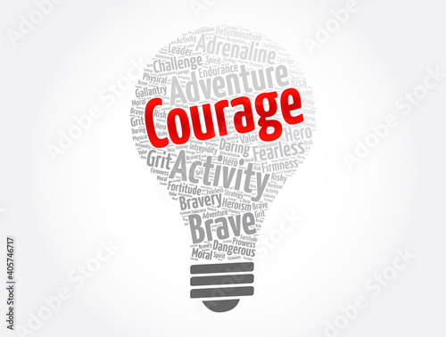 Foto Courage light bulb word cloud collage, concept background