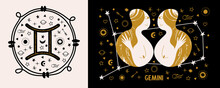 Gemini. Zodiac Sign. Two Girls Are Twins. Constellation Of Gemini. Vector Illustration In A Flat Style.
