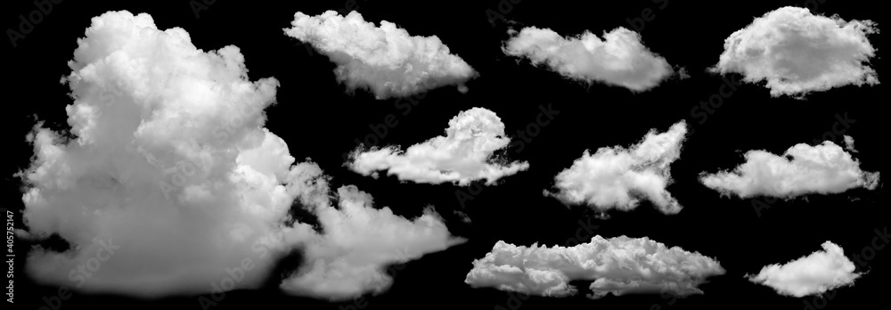 Fototapeta Set of White clouds isolated on black background.