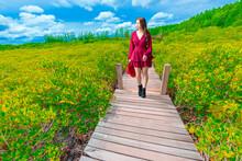 Woman Looking Away While Walking On Footbridge Amidst Plants