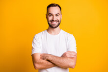 Portrait Of Attractive Cheerful Bearded Sportive Guy Folded Arms Isolated Over Bright Yellow Color Background