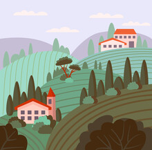 Cute Italian Landscape. Vector Illustration In Flat Style. The Vineyards Of Tuscany Are Painted In A Vintage Style. For Wine Labels, Posters, Postcards, Design And Decor.
