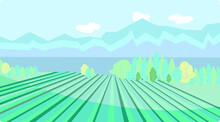 Cute Landscape With Views Of The Lake, Vineyard And Mountains. Vector Illustration In Flat Style.  For Wine Labels, Posters, Postcards, Design And Decor.