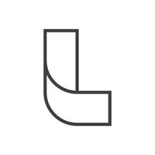 Logotipo Inicial Letra L Tridimensional En Lineas En Color Gris