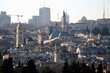 Jerusalem, Israel, view of the Church of the Holy Sepulchre (blue domes) and the Old City from the Mount of Olives