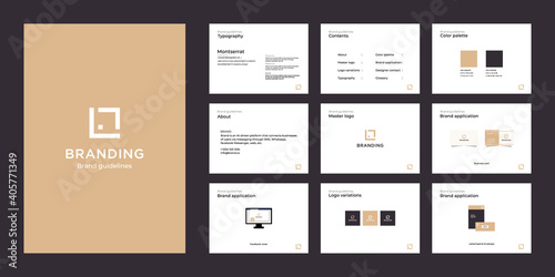 Minimalist luxury brand guide template Fototapet
