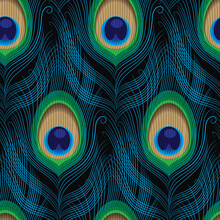 Peacock Feather Makes A Seamless Pattern