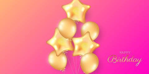 Birthday festive background with helium balloons.